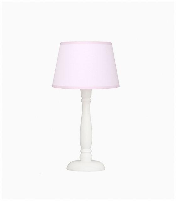 Lampka nocna pudrowy róż z różowąlamówką