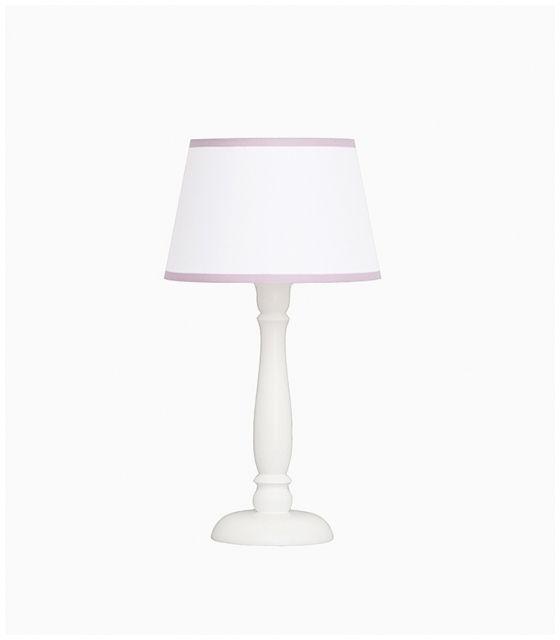 Lampka nocna biała z różowąlamówką