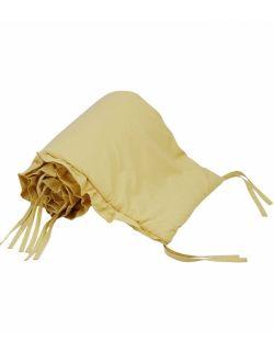Bawełniany ochraniacz do łóżeczka z falbanką musztardowy