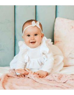 Carmella urocza sukienka z muślinu z koronką dla dziewczynki na chrzest święty