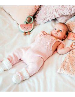 Różowy wełniany rampers śpioszki dla dziewczynki