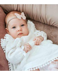 Anabell muślinowa sukienka z haftem dla dziewczynki na chrzest roczek