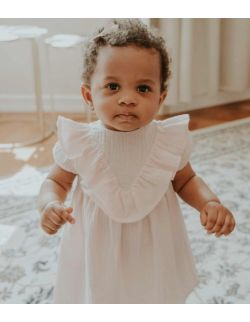 By Royal Baby Muślinowa elegancka z falbanką Sukienka dla dziewczynki Cukierkowy róż