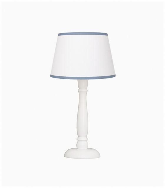 Lampka nocna biała z niebieską lamówką