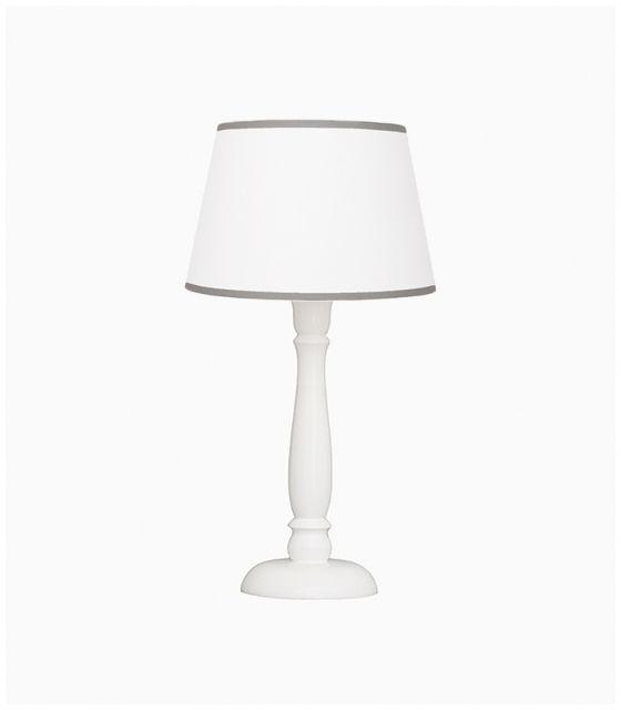 Lampka nocna biała z szarą lamówką