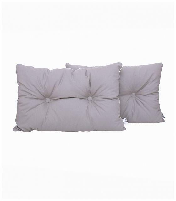 Poduszka na łóżko pikowana guzikami szara