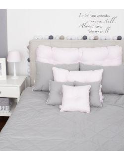 Poduszka na łóżko pikowana guzikami pudrowy róż / szary