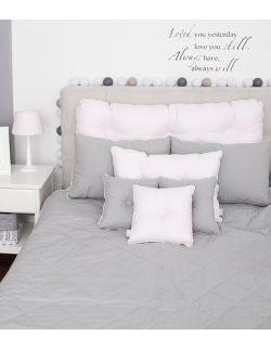 Poduszka na łóżko pikowana guzikami pudrowy róż