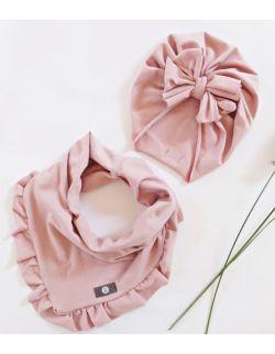 Komplet turban + komin |pudrowy róż
