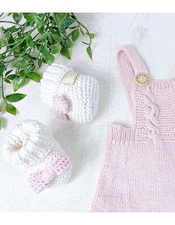 By Royal Baby Wełniane papcie buciki niemowlęce Sweet Pink Handmade