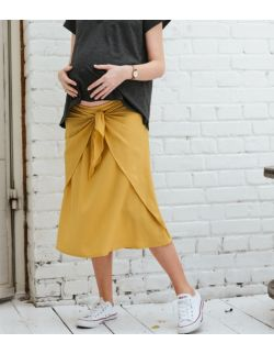 Balance spódnica z wiązaniem – żółty