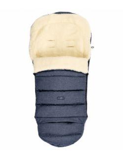 Regulowany śpiworek iGrow do wózka i fotelika z owczą wełną - melanż granatowy
