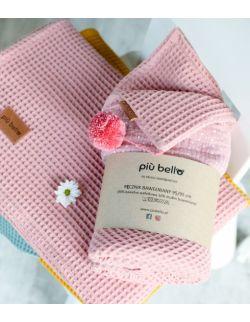 Ręcznik wafelek bawełniany z kapturkiem róż antyczny