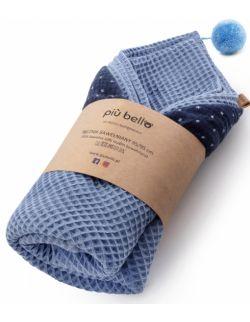 Ręcznik wafelek bawełniany z kapturkiem jeansowy