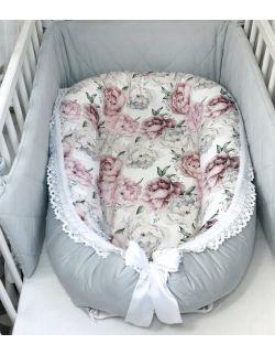 Kokon premium + poduszka z uszkami peonie & velvet ze zdejmowanym pokrowcem