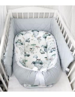 Kokon premium + poduszka z uszkami maluchy & velvet ze zdejmowanym pokrowcem