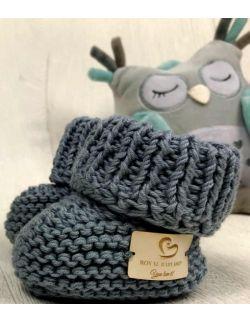 By Royal Baby wełniane buciki niemowlęce dark grey handmade
