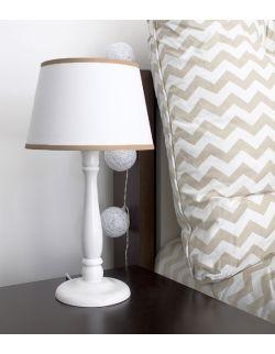 Lampka nocna biała z beżowąlamówką