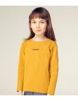 Beżowa dziecięca bluzka z długim rękawem z napisem mess,