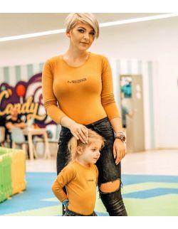 Zestaw koszulek z długim rękawem dla Mamy i dziecka, napis MESS