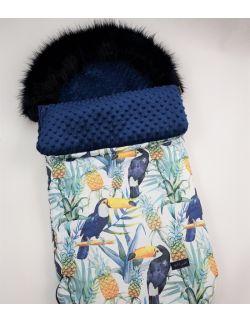 Śpiworek zimowy tukany minky kolor granatowy, obszyty futerkiem ( bez mufki)