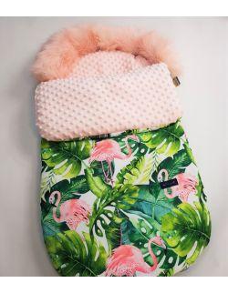 Śpiworek zimowy z futerkiem flamingi minky kolor blady róż ( bez mufki)