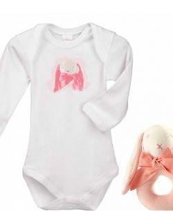 Króliczek Pink Bunny zestaw prezentowy z 100% certyfikowanej bawełny organicznej body Lait Baby i grzechotka Maud N Lil- 6 m-cy