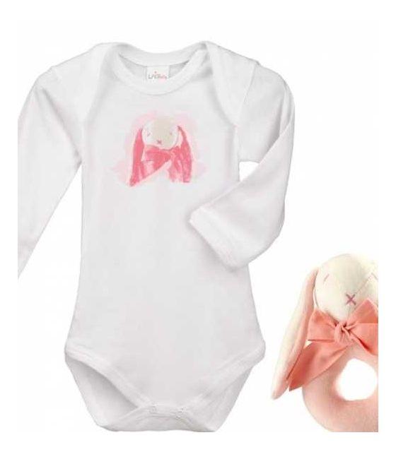 Króliczek Rose zestaw prezentowy z 100% certyfikowanej bawełny organicznej body Lait Baby i grzechotka Maud N Lil- 3 mce