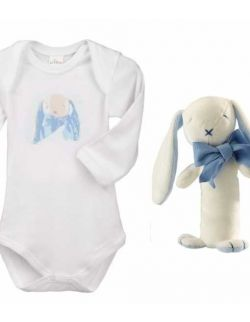 Króliczek Oscar zestaw prezentowy z 100% certyfikowanej bawełny organicznej body Lait Baby i grzechotka Maud N Lil- 3 mce