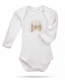 Króliczek Ears zestaw prezentowy z 100% certyfikowanej bawełny organicznej body Lait Baby i grzechotka Maud N Lil- 3 mce