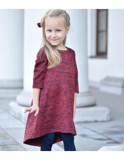 Sukienka z przedłużonym tyłem - burgund & black