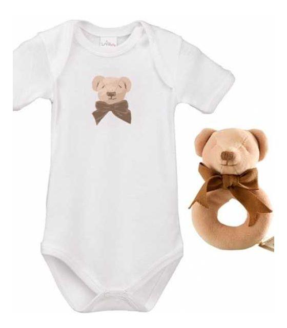 Mis Cube round zestaw prezentowy z 100% certyfikowanej bawełny organicznej body Lait Baby i grzechotka Maud N Lil- 6 mcy