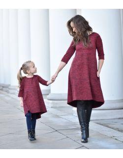Komplet sukienek dla mamy i córki z przedłużanym tyłem burgund