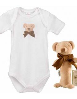 Miś Cube zestaw prezentowy z 100% certyfikowanej bawełny organicznej body Lait Baby i grzechotka Maud N Lil- 9 mcy