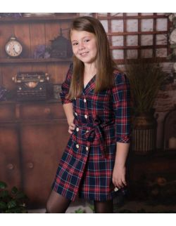 By Royal Baby Carmen wizytowa elegancka żakietowa sukienka w kratę na święta dla dziewczynki