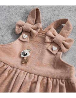 By Royal Baby Różowa Sztruksowa ogrodniczka/sukienka z kokardkami Royal Pink
