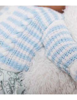 By Royal Baby bluzeczka wełniany sweterek niemowlęcy do chrztu wyprawka handmade Blue