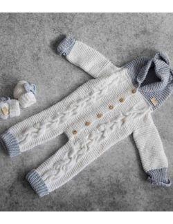 By Royal Baby miękki wełniany cieplutki kombinezon niemowlęcy handmade GREY