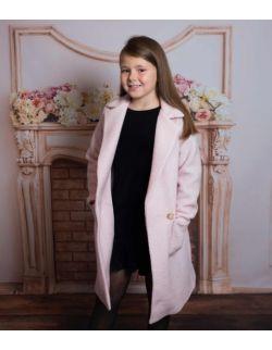 By Royal Baby różowy wełniany płaszczyk wiosenny dla dziewczynki