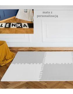 Mata biało-szara z imieniem rozmiar XL