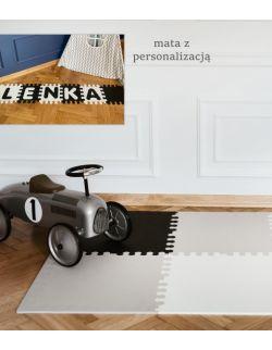 Mata biało-szaro-czarna z imieniem rozmiar XL