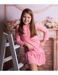 By Royal Baby polo pink sukienka dla dziewczynki z falbanką