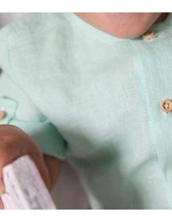 By Royal Baby Edition lniany elegancki komplet dla chłopca miętowy