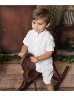 wizytowa elegancka koszula z lnu dla chłopca biała chrzest