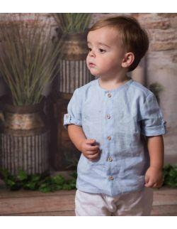 elegancka koszula z lnu dla chłopca błękitna chrzest roczek
