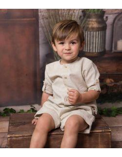 beżowa stylowa koszula dla chłopca z lnu
