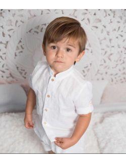 Lniany Komplet chłopięcy koszula spodenki biały do chrztu