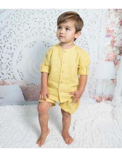 By Royal Baby Edition 2-częściowy komplet dla chłopca z lnu Mustard
