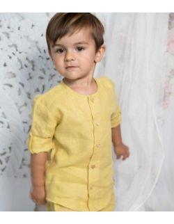 By Royal Baby lniana elegancka koszula chłopięca musztarda