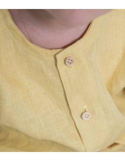 By Royal Baby lniana elegancka koszula chłopięca musztardowa